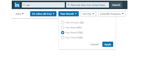SEO Jobs NYC on Linkedin